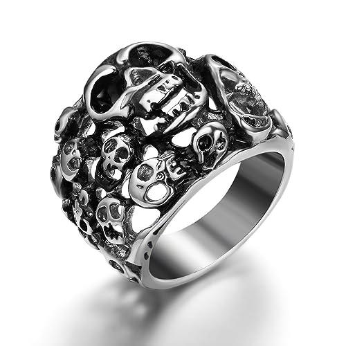 JewelryWe joyería motociclistas inoxidable para hombre-anillo, diferentes calaveras cráneo, acemoros matrimonio anillo para Halloween Tamaño de Navidad 57 A ...