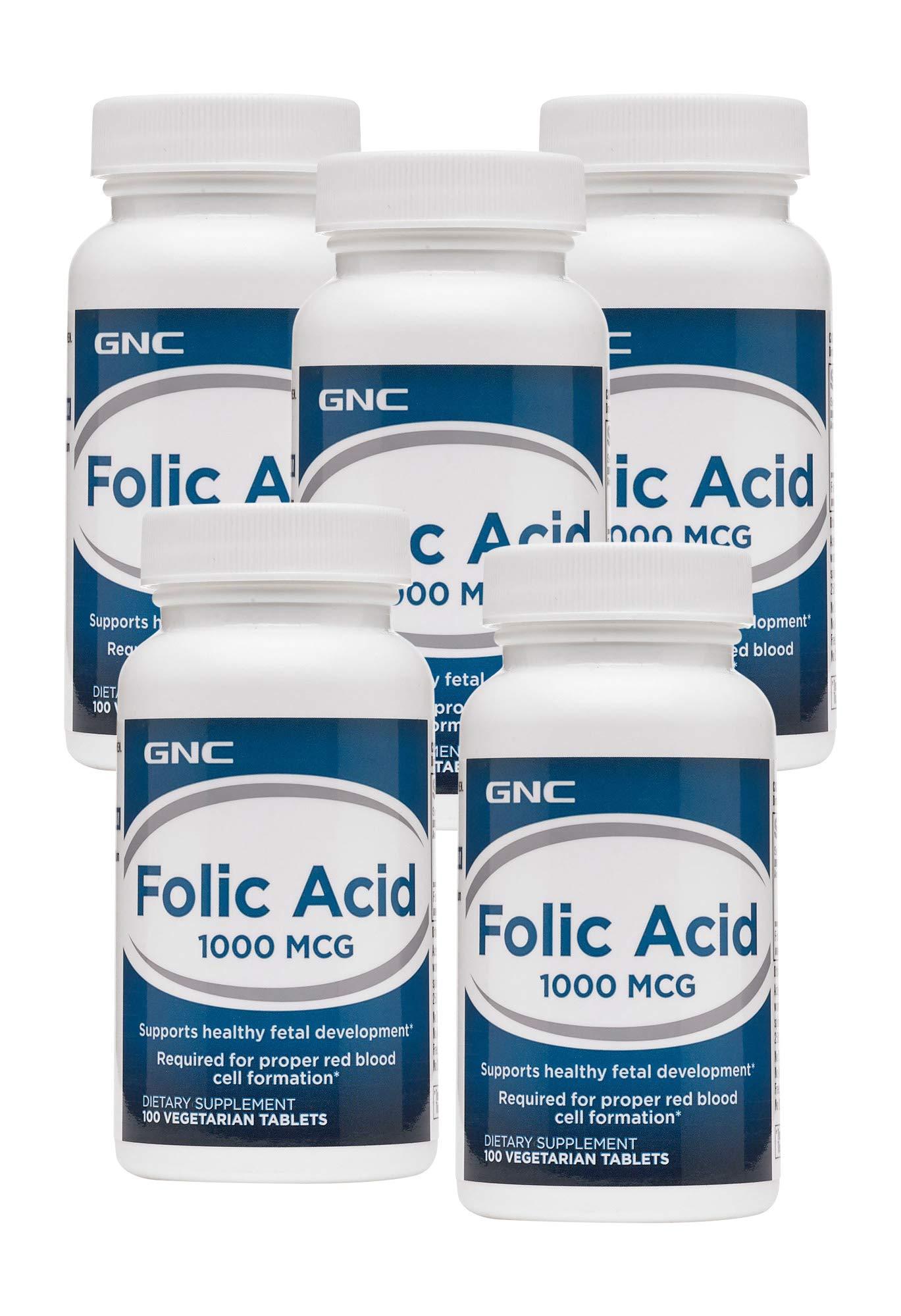 GNC Folic Acid 1000 MCG - 5 Pack