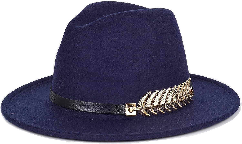 Women Fedora Hat Simple Metal Belt Buckle Panama Hat Vintage Jazz Cap