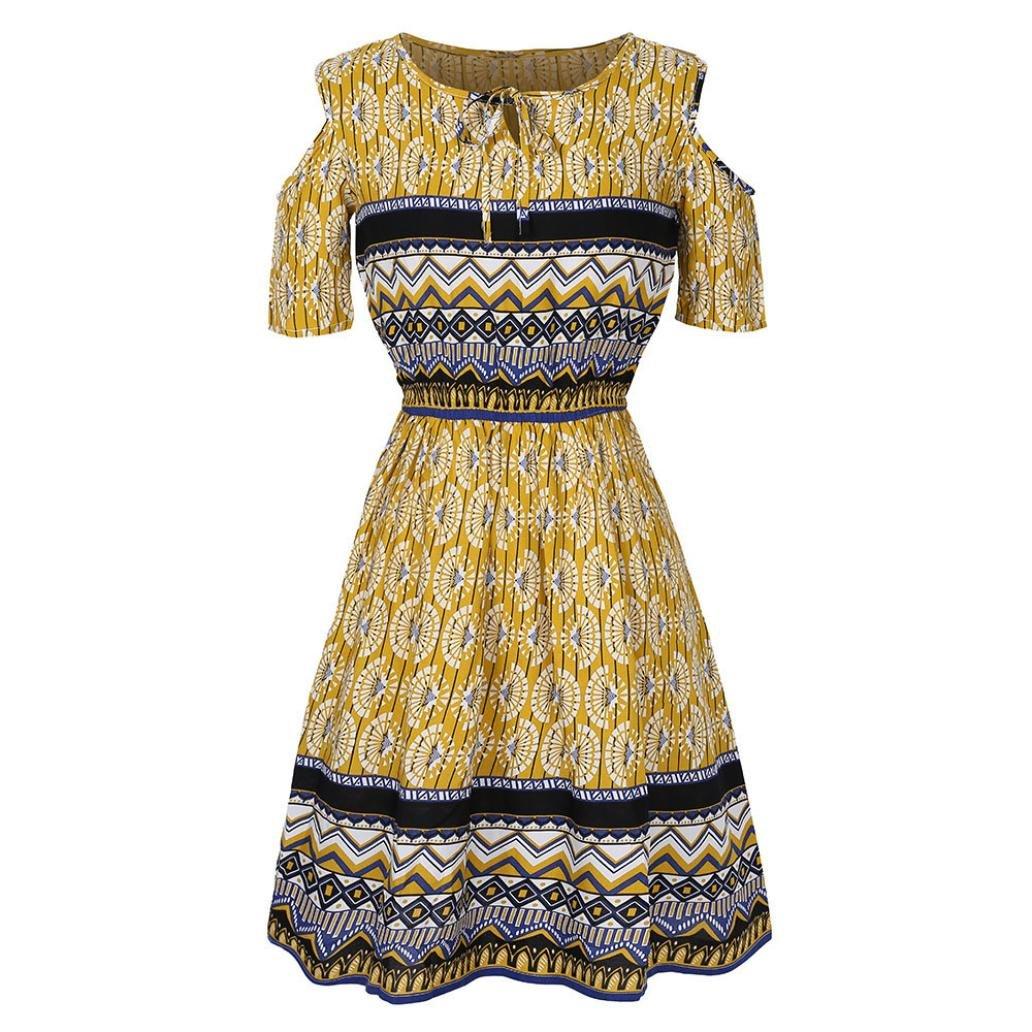 Lenfesh Damen Vintage Ethnic-Print Bohemian Weg von der Schulter Tunika Strandkleid Kurzarm Sommerkleid