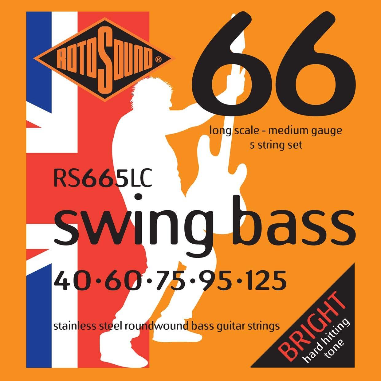 Rotosound RS665LC - Juego de cuerdas para bajo eléctrico de acero inoxidable, 40 60 75 95 125