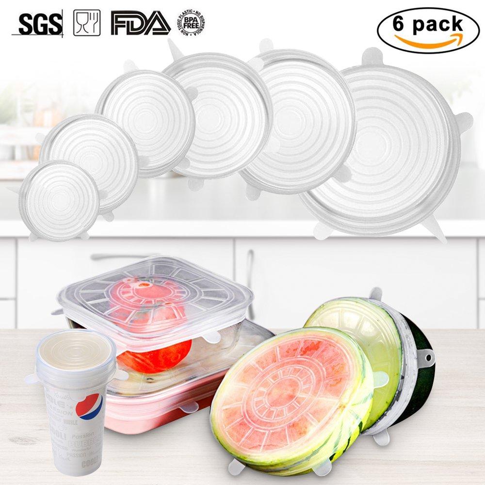 VOIMAKAS Silicone Stretch Lids, 6pcs- Pack coperchio riutilizzabile per alimenti, Durevole e scalabile, per Varie misure di tazze d'acqua, coperchi per ciotole