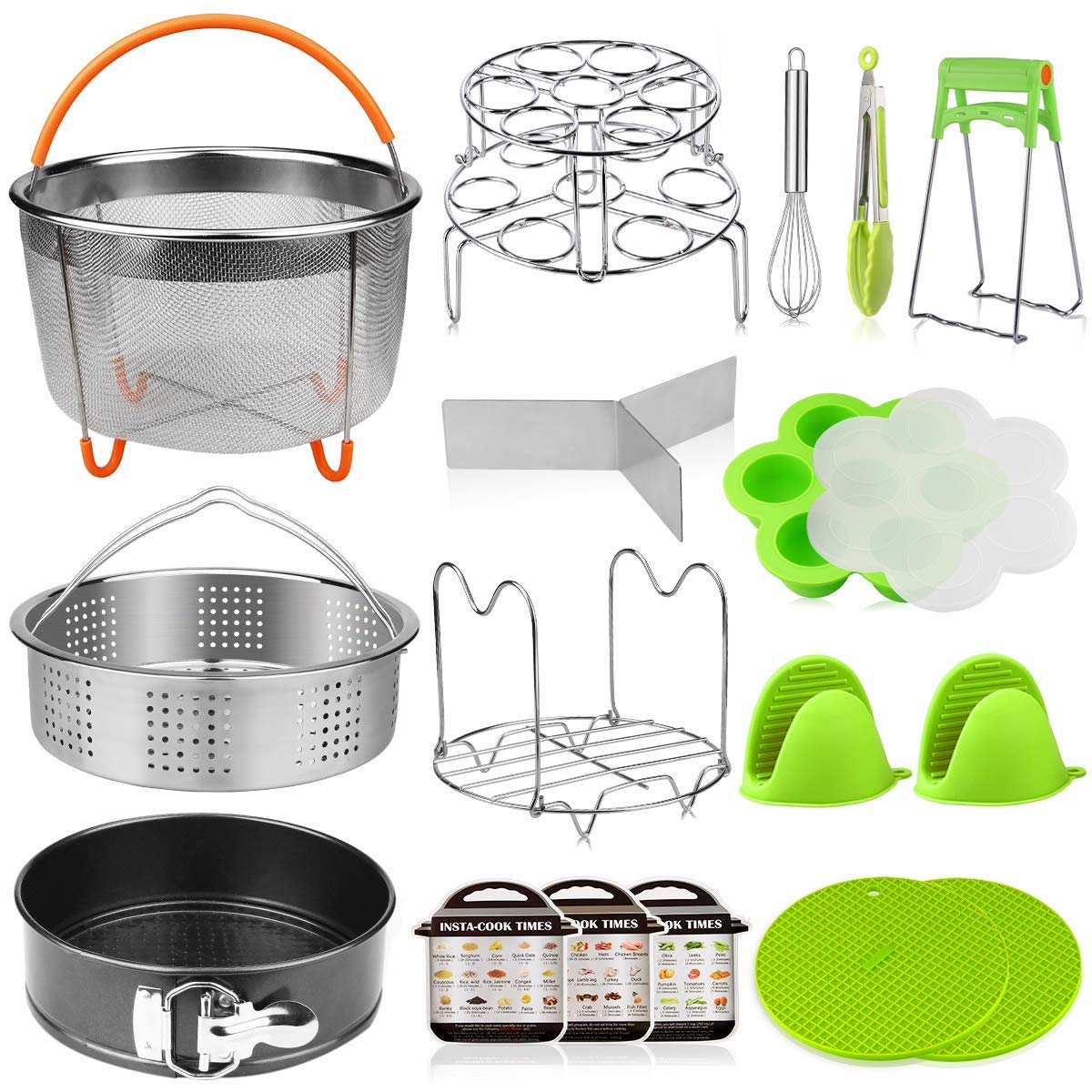 Aiduy 18 pieces Pressure Cooker Accessories Set Compatible with Instant Pot 6,8 Qt - 2 Steamer Baskets, Springform Pan, Stackable Egg Steamer Rack, Egg Beater, 2 Silicone Trivet Mats by Aiduy