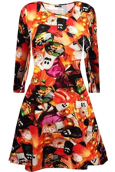 20190fbacb3c Oops Outlet Womens Ladies Long Sleeves Pumpkin Cobweb Bats Skulls Flared  Smock Skater Swing Mini Dress Top Plus Size 8-34  Amazon.co.uk  Clothing