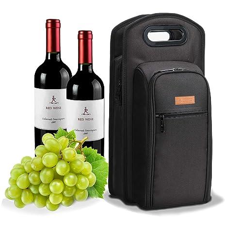 ALLCAMP Bolsas para botellas La Bolsa de Asas Del Portador Del Vino Bolsas para Picnic Enfriador de bolsas de vino con accesorios para el vino (negro)