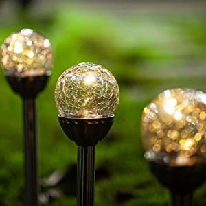 Solar Lights Outdoor Yard Decoration - Cracked Glass Ball Lights Decorative Landscape Pathway Lights for Garden, Path, Patio (3 Pack)