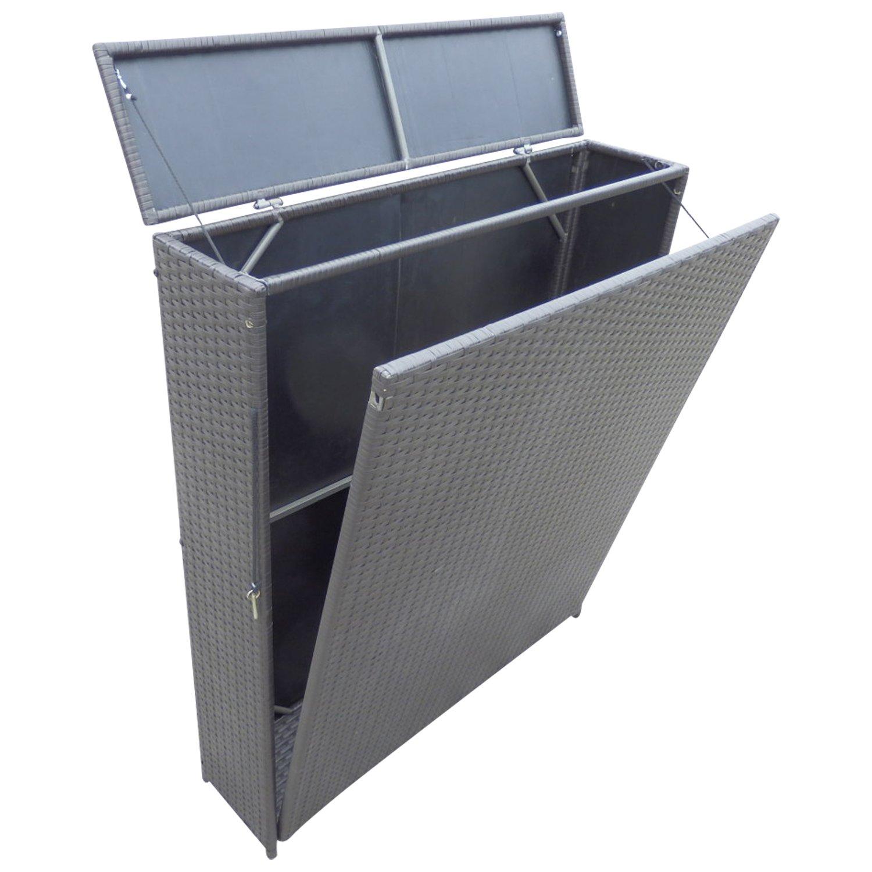 Auflagenbox SARONNO in hoher Form 100x25x118cm, Geflecht braun