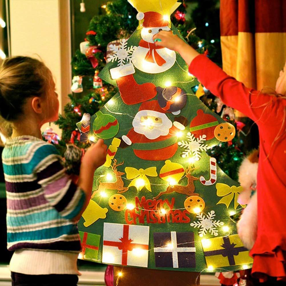 Bestvery Feltro Albero di Natale Set Lanterna a LED Decorazione Natalizia Fai da Te Albero di Natale Regalo di Natale Regalo per Bambini