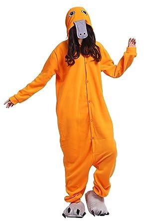 20087418c36d Amazon.com  Pajamas Onesie Adult Orange Platypus Cartoon Animal Cosplay  Sleepsuit Unisex  Clothing