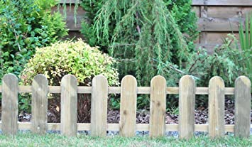 Cottage Low Wooden Picket Fence   Set Of 3
