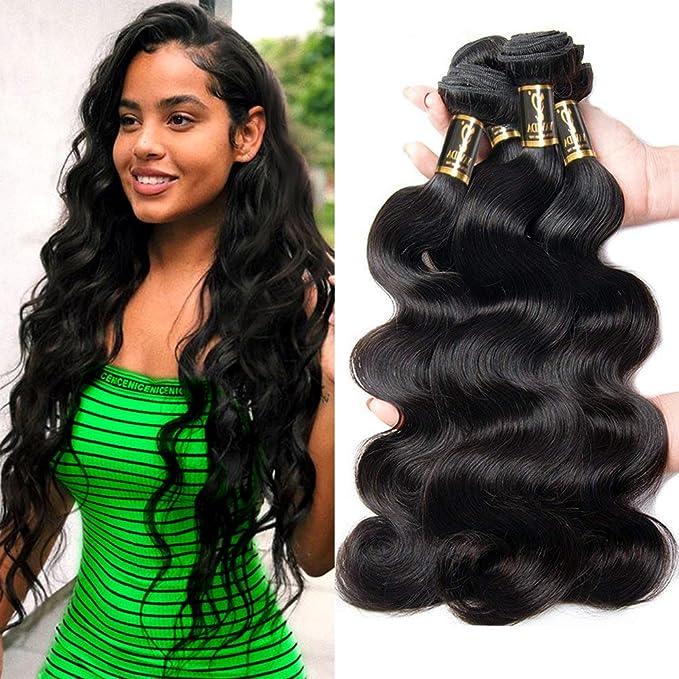Paquete de 3 manojos de cabello peruano virgen Yavida 7A, extensiones de cabello humano de origen peruano natural, 7A, cabello natural, color moreno: ...