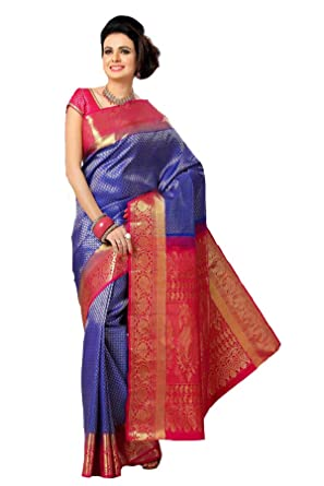 b617bfc40a Samyakk Women's Pure Silk Saree with blouse piece (SR10332_Blue ...