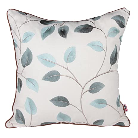 Queenie®   1 Pc Shell Leaves Embroidery Cotton Linen Decorative Pillowcase Throw  Pillow Case Cushion