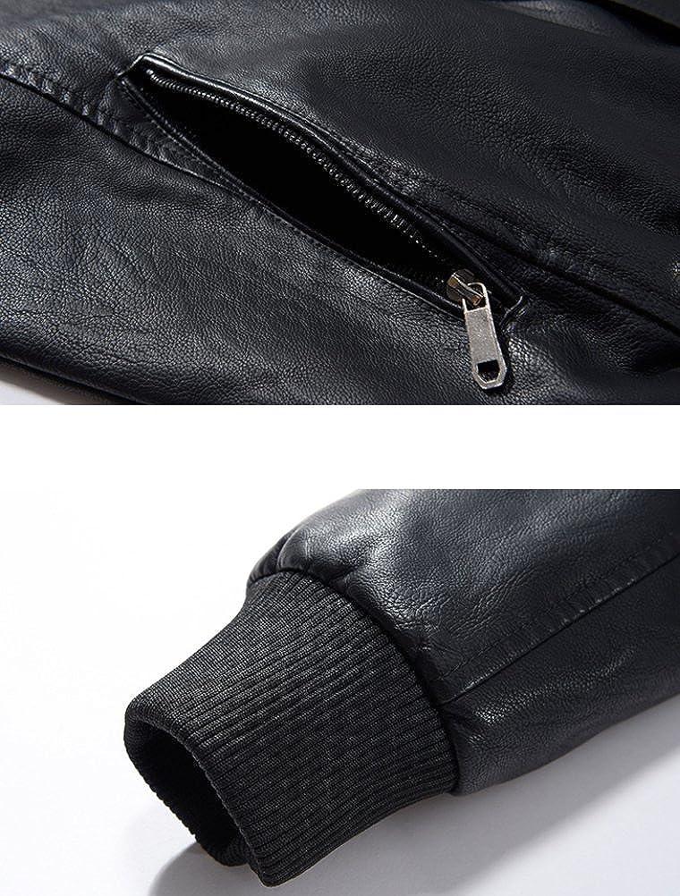 Vogstyle Uomo Nuovo PU Pelle Baseball Giacca Casual Zip Cappotto Jacket Nero
