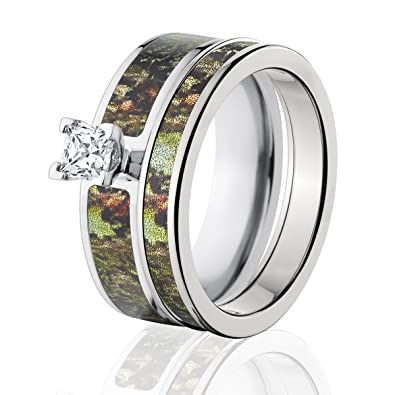 88f976ec2 Image Unavailable. Image not available for. Color: Mossy Oak Camo Bridal  Set, Camo Wedding Rings ...