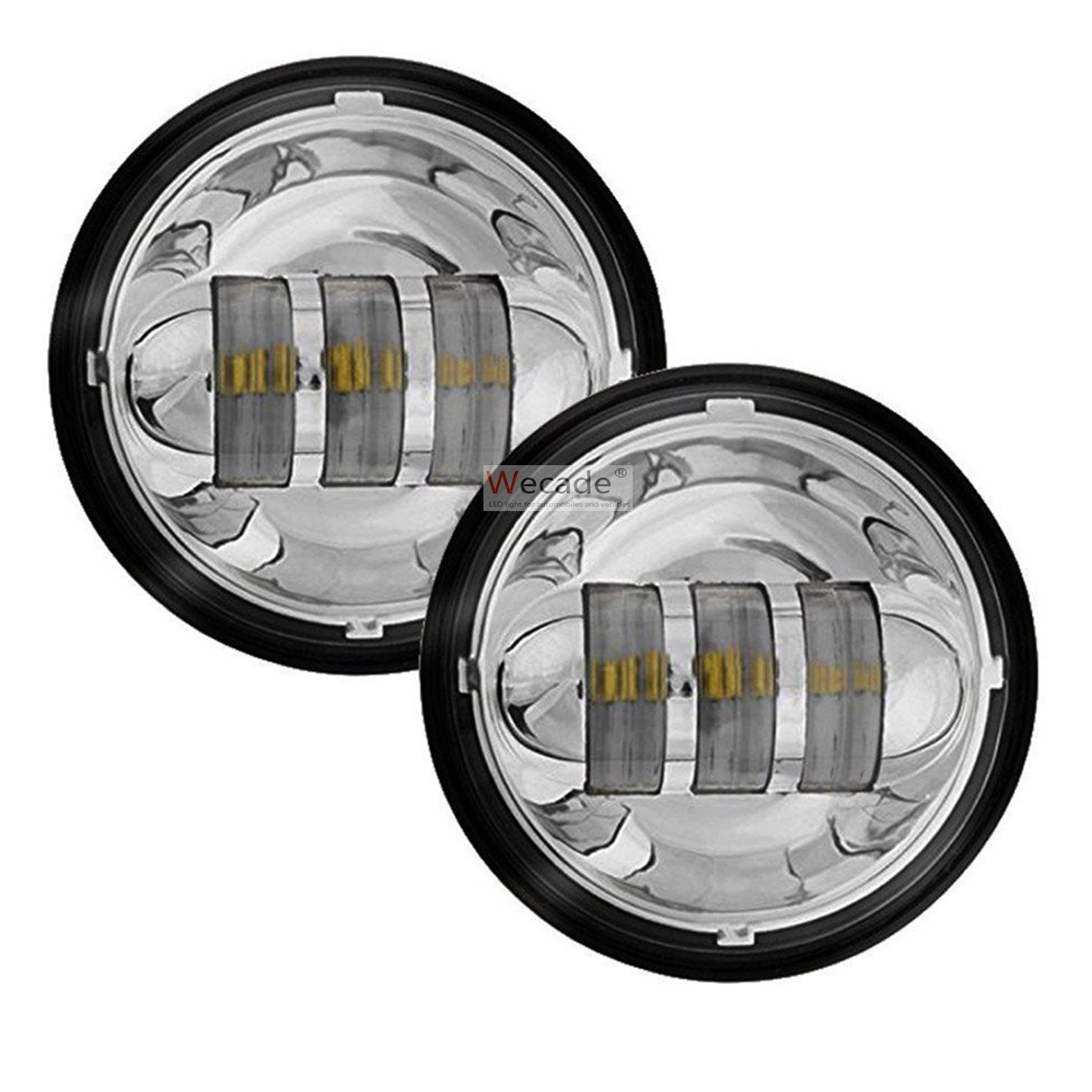 Wecade 4-1/2' 4.5inch LED Passing Light for Harley Davidson Fog Lamps Auxiliary Light Bulb Motorcycle Daymaker Projector Spot Driving Lamp Headlight (Chrome)