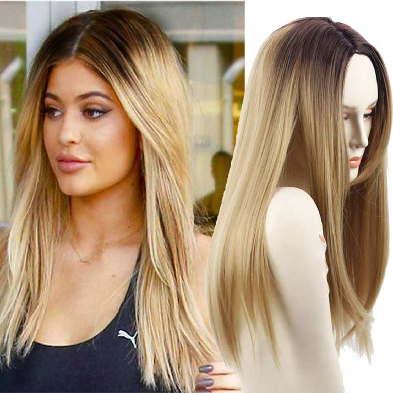 Synthetic grey ombre wigs dark roots long straight synthetic two tone grey wigs for - Ombre hair blond ...
