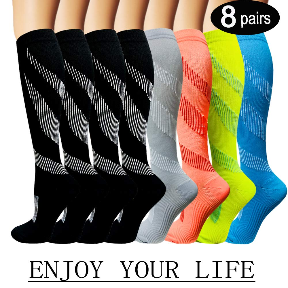 Iseasoo 7 Pack Copper Knee High Compression Socks for Men & Women-Best for Running,Athletic,Medical,Pregnancy and Travel -15-20mmHg (S/M, 8 Pairs Multicoloured 1)