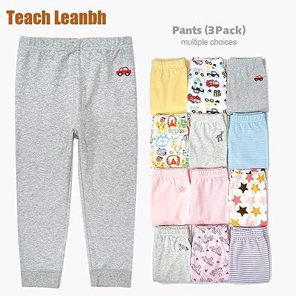 Teach Leanbh Toddler Baby Boys Girls 3 Pack Pants Cotton Printing Casual Leggings
