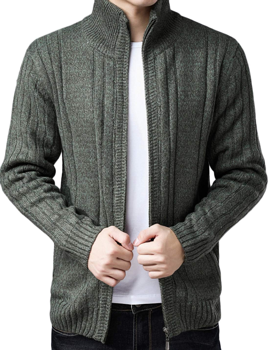Lentta Mens Slim Fit Solid Stand Collar Full Zip Up Sherpa Lined Cardigan Sweater (X-Small, Army Green)
