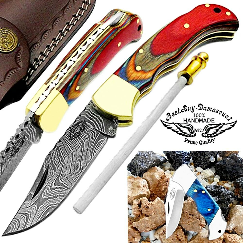 Multi Wood 6.5'' Handmade Damascus Steel Brass Bloster Back Lock Folding Pocket Knife Sharpening Rod 100% Prime Quality Plus Beautiful Blue Wood Stainless Steel Pocket knive ''LIMITED OFFER''