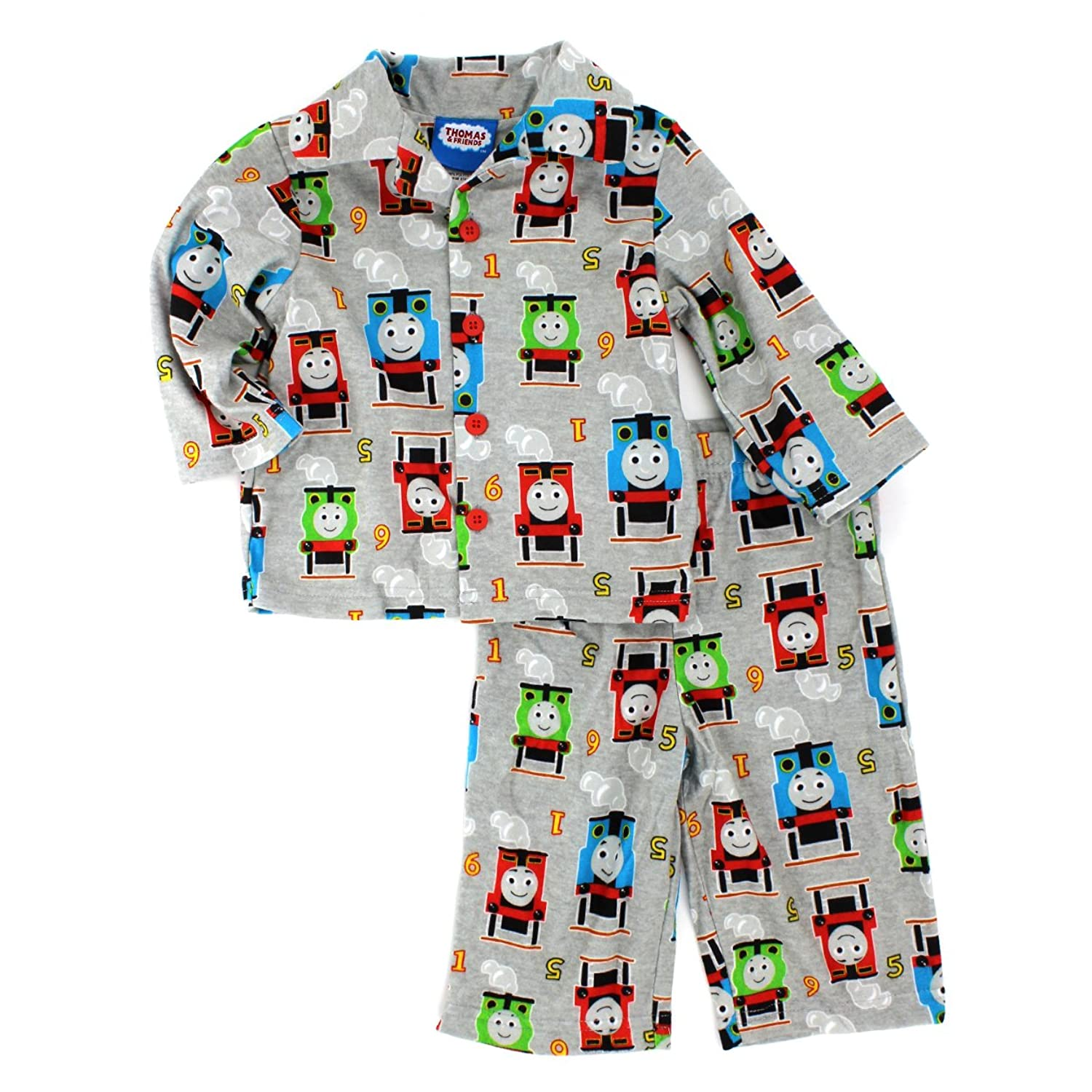 Thomas Train and Friends Boys Flannel Coat Style Pajamas (Baby/Toddler/Little Kid