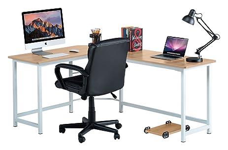 Fineboard Stylish L Shaped Office Computer Corner Desk Elegant U0026 Modern  Design, Beige/