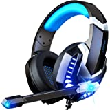 MuGo Gaming Headset for PC, Over Ear Headphones with Noise Canceling Mic, PS4 Headset with Soft Memory Earmuffs, LED Light, 3