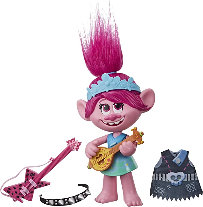 Amazon.com: DreamWorks Trolls World Tour Pop-to-Rock Poppy Singing Doll with 2 Different Looks and Sounds, Toy Sings Trolls Just Want to Have Fun (English): Toys & Games