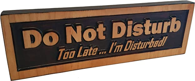 """Do Not Disturb, Too Late … I'm Disturbed, Decorative Wood Sign Plaque, Carved & Stained, Freestanding Décor for Office or Home Display, 10"""" x 3"""""""