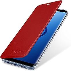 StilGut Book Type Berlin, Housse Samsung Galaxy S9+ en cuir de qualité et en TPU avec porte-cartes. Étui flip-case de protection à ouverture latérale avec blockage RFID (RFID/NFC blocker), rouge/transparent