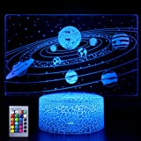 Solar System 3D Optical Illusion Lamp Universe Space Galaxy LED Night Light with Remote for Space Lover Boys and Girls as a B