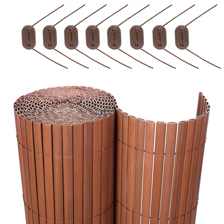 SONGMICS PVC Sichtschutzmatte Braun, 90 x 900 cm (Zusammengesetzt aus 2 Matten mit 1 x 400 cm + 1 x 500 cm Länge) GPF099B