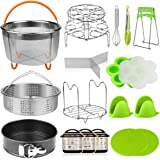 Aiduy 18 pieces Pressure Cooker Accessories Set Compatible with Instant Pot 6,8 Qt - 2 Steamer Baskets, Springform Pan, Stack