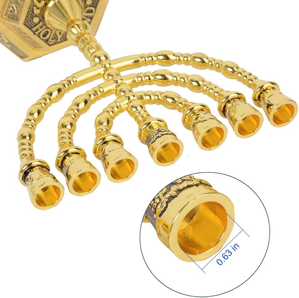 12 Tribes of Israel Menorah, Jerusalem Temple 7 Branch Jewish Candle Holder (8 Inches, Gold): Home & Kitchen