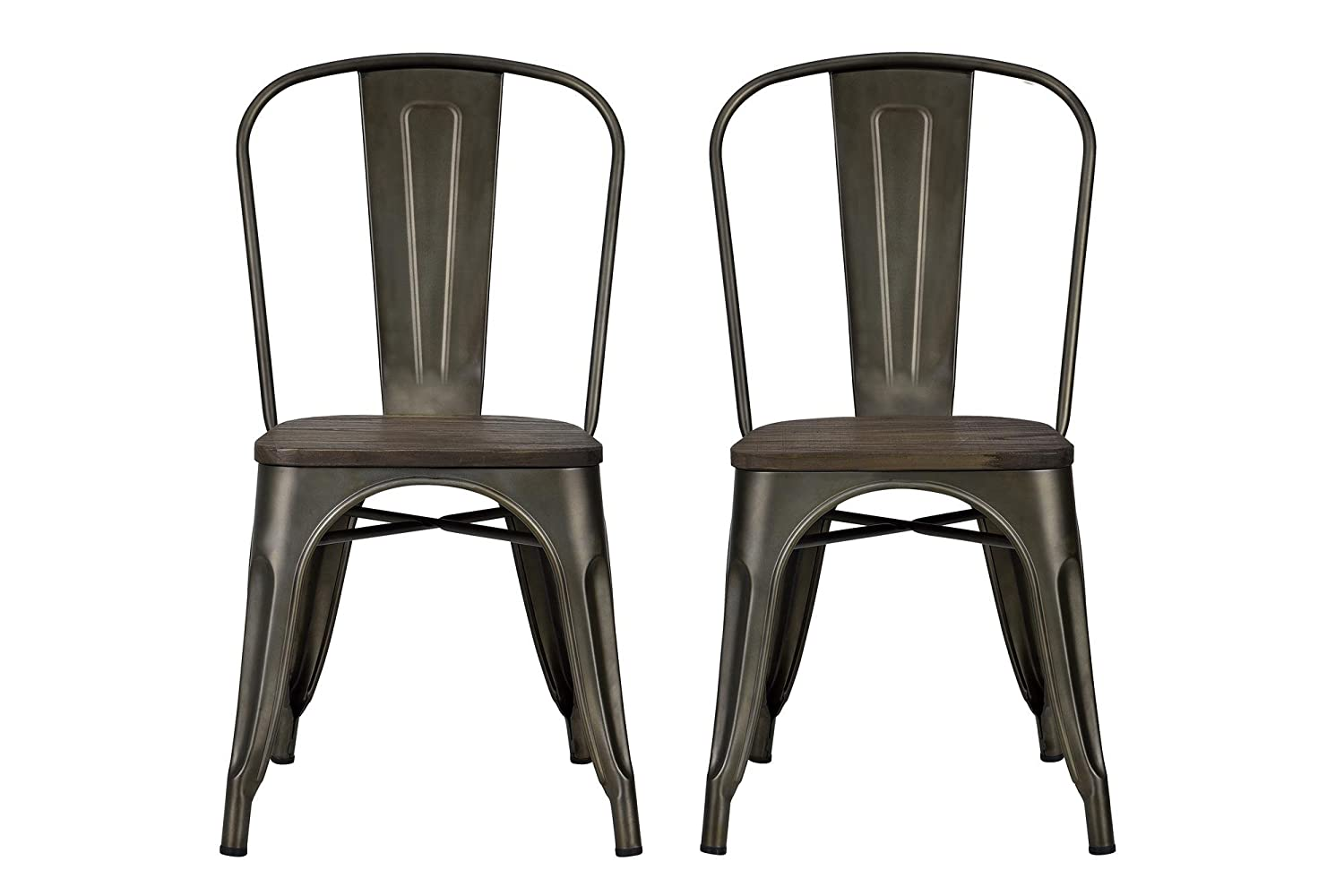 Amazon.com: DHP Fusion Metal Dining Chair Wood Seat, Set Two, Antique Copper:  Kitchen U0026 Dining