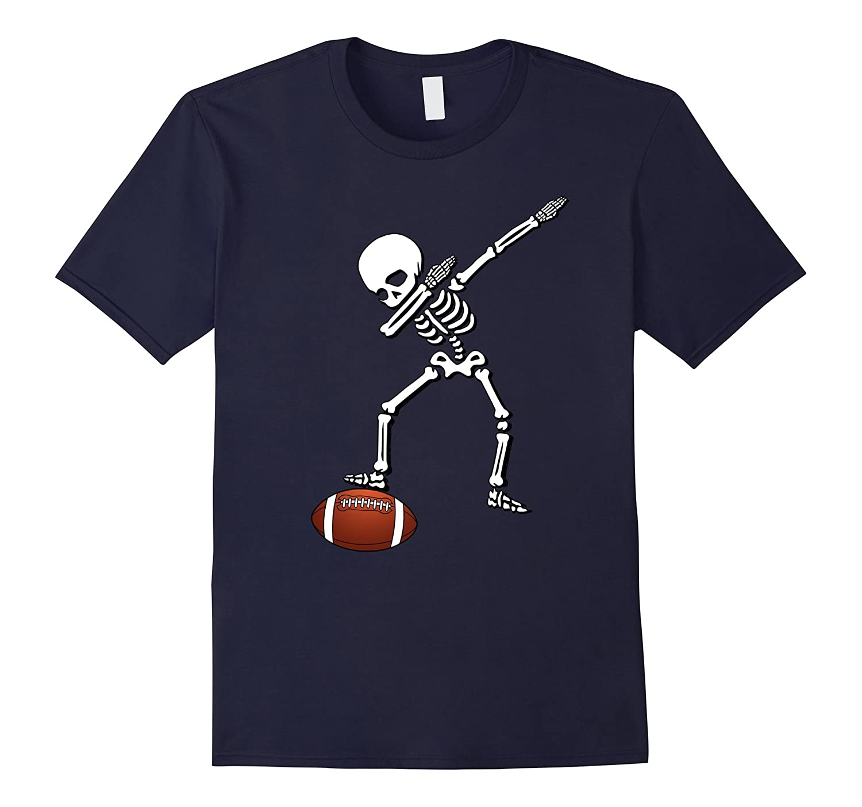 Football Skeleton Dabbing Shirt Sports Soccer Halloween Gift-T-Shirt