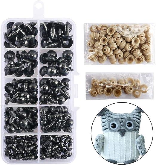 500 Stück Teddyaugen Sicherheitsaugen Plastikaugen Puppe Augen 4-12mm