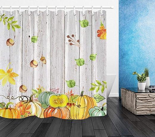 Fall Harveest Pumpkin Thanksgiving Shower Curtain Set Waterproof Fabric Hooks LB