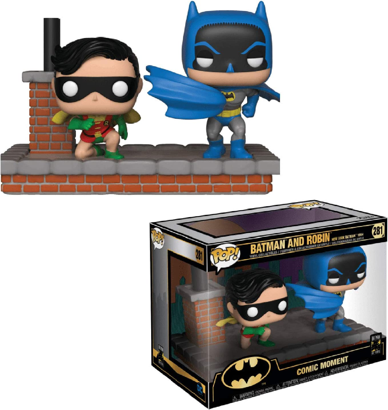 Funko- Pop Vinyl: Comic Moment 80th: Look Batman and Robin (1964) Batman & Robin Figura de Vinilo, Multicolor (37256)