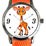"""""""Save Our Wildlife"""" Large Polished Chrome Watch with Orange Nylon Strap has a """"Giraffe"""" image and Donation to the African Wildlife Foundation"""