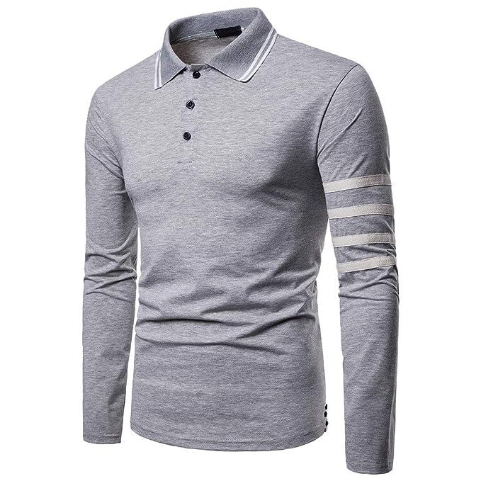 Camisa de Hombre, Internet_Camiseta de Top de Cuello de Manga Larga con Solapa Impresa a Rayas para Hombre, Sudadera de Color Liso(Gris S-2XL): Amazon.es: ...