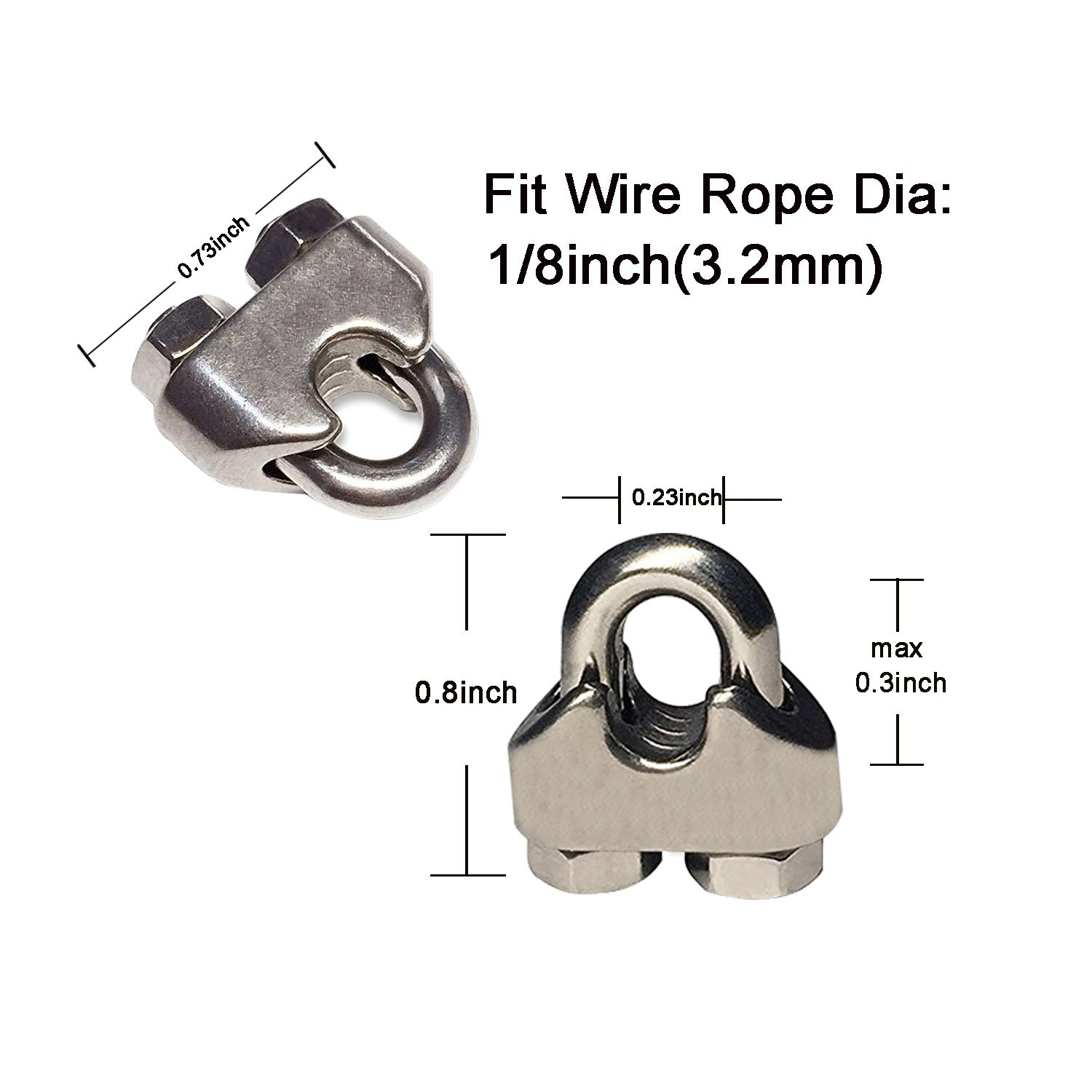 WeiMeet Wire Rope Clamp M3 Stainless Steel Cable Clamps Wire Rope Clip 20 Pack