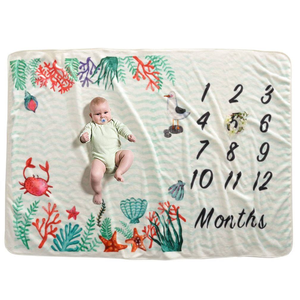 Soft Fleece Milestone Blanket Monthly Photo Prop for Baby Won't Wrinkle like Muslin Perfect Baby Shower Gift for New Moms Large Size 60''x40'' (undersea world)