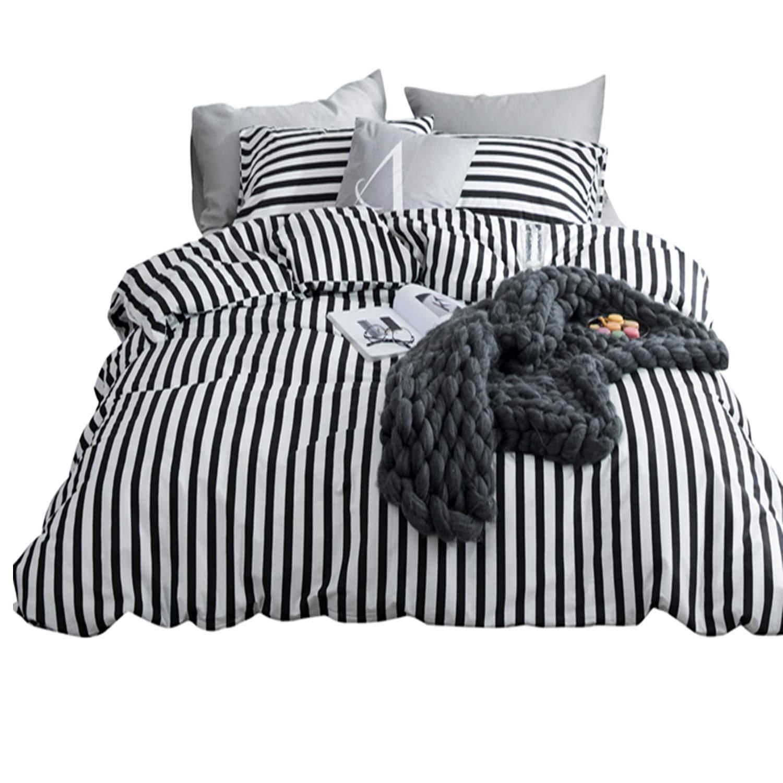 karever Black White Striped Duvet Cover Queen Vertical Ticking Stripe Bedding Full 3 PCs Cotton Comforter Cover Set for Boys Girls by karever (Image #6)