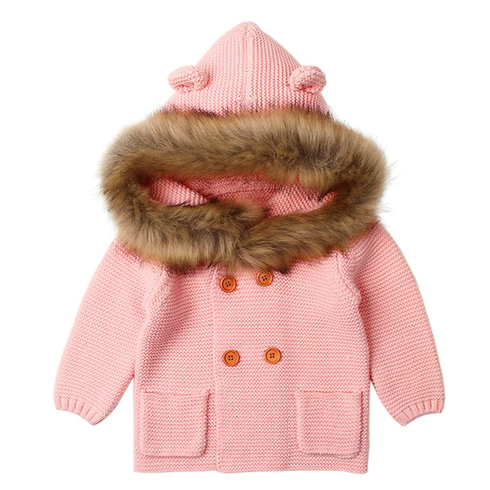 Lonshell_Toddler Clothing Baby Boy Girl Knitted Sweater Long Sleeve Warm Coat Fur Collar Hooded Outwear Infant Baby Button-Down Jackets Winter Short Coat Knitwear Outfits