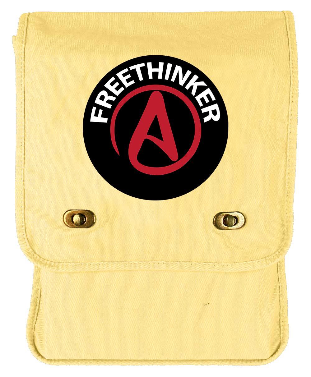 Tenacitee Free Thinker Badge Putty Raw Edge Canvas Messenger Bag