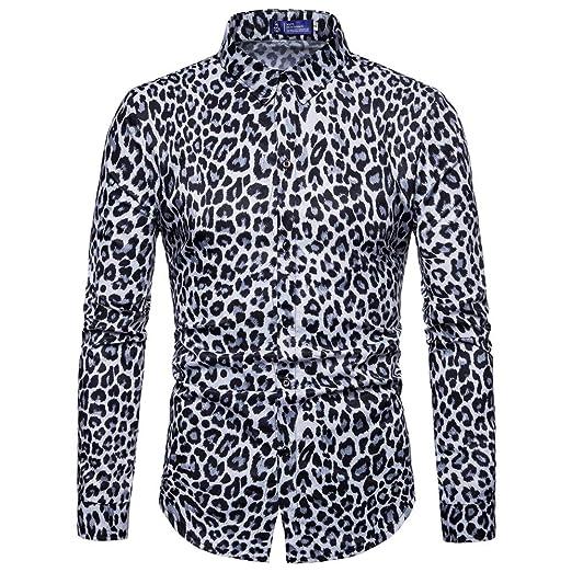 Mens Autumn Winter Leopard Printing Shirt Gray Brown Leopard Pattern Long Sleeve Shirts Fashion Casual Shirt Slim Clothing Shirts