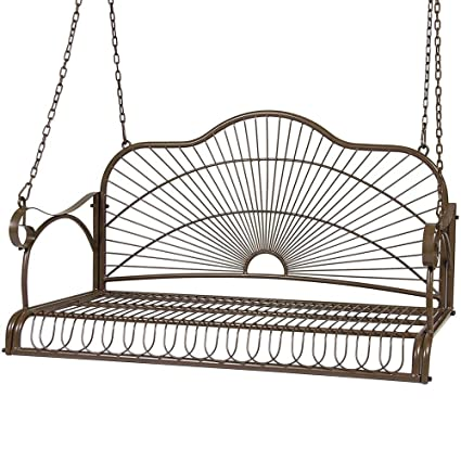 Amazon.com : Yaheetech Metal Hanging Patio Porch Swing Bench Chairs ...