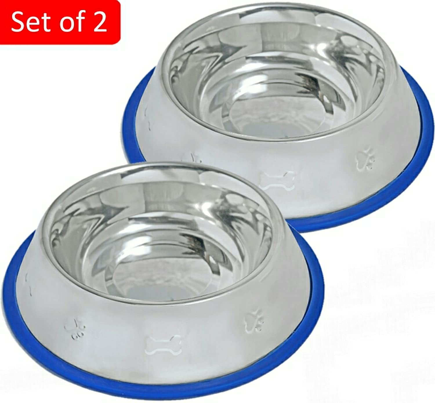 Mr. Peanut's Set of 2 Etched Stainless Steel Dog Bowls, Easy to Clean, Bacteria & Rust Resistant, with Non-Skid No-Tip Silicone Ring, Feeding Bowls for Dogs (2 Pak/32oz Each Bowl)
